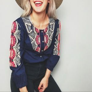 Anthropologie Blue Embroidered Top